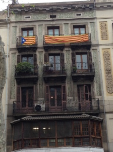 Catalan flags are common in the region, but as momentum for secession has increased in the last few months, so has the presence of Catalan independence flags.