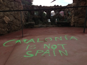 Pro-independence graffiti in Barcelona's famous Gaudi-designed Parc Guell