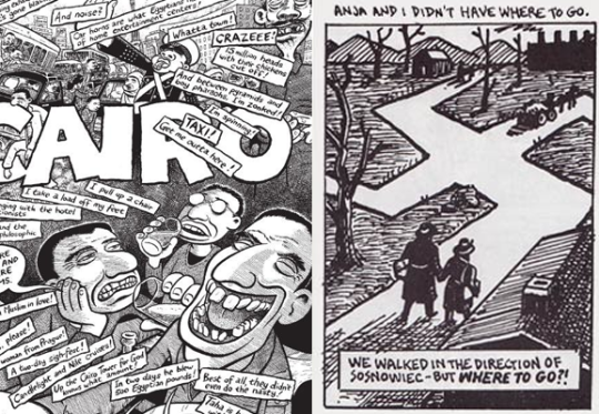 The work of comic artists Joe Sacco (left) and Art Spiegelman (right).