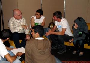 U.S. senior diplomat Robert Jackson and Casablanca high school research team at Rabat Environment Eair, 2010