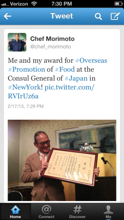 "Caption: Iron Chef Masaharu Morimoto was similarly honored for ""overseas promotion of Japanese food,"" by the Consul General of Japan in New York City."