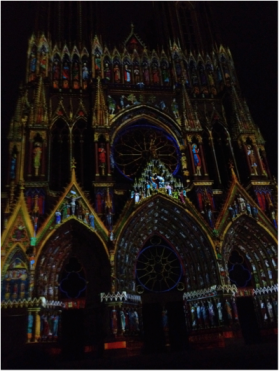 Reims Cathedral son et lumiere show (not as kitschy as expected, actually helps you see and understand the extraordinary craftsmanship). This is the cathedral where French kings came to be coronated.