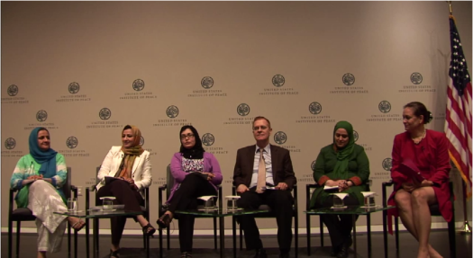 Screen capture from a video featuring an expert panel on women's empowerment in Afghanistan at the U.S. Institute for Peace, July 18, 2013. Source: YouTube