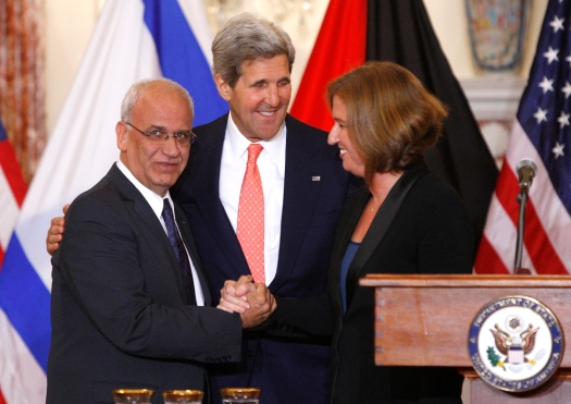Chief Palestinian negotiator Saeb Erekat (L-R), U.S. Secretary of State John Kerry and Israel's Justice Minister Tzipi Livni shake hands at a news conference at the end of talks at the State Department in Washington, July 30, 2013. (Credit: Reuters via ChristianPost.com)