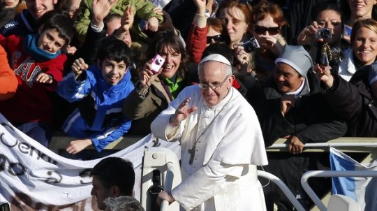 Pope Francis as he arrived in Vatican City's St. Peter's Square on March 19, 2013 for his inaugural mass. Credit: Valdrin Xhemaj / EPA / LANDOV via NPR.org