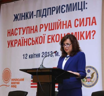 "Sonenshine delivers remarks at the ""Women's Forum: Women's Role In A Changing Ukraine's Future"" in Kyiv, April 12, 2013. Credit: State.gov"