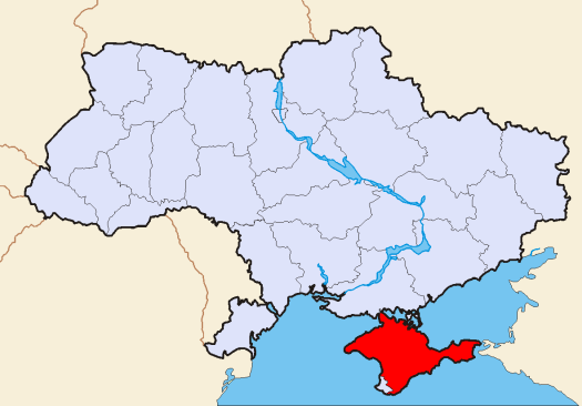 Map of Ukraine, with the autonomous area of Crimea in red. On Feb. 28, Russian military occupied the area following the political crisis in Kyiv. Many view the move as an act of war. Credit: Wikipedia Common