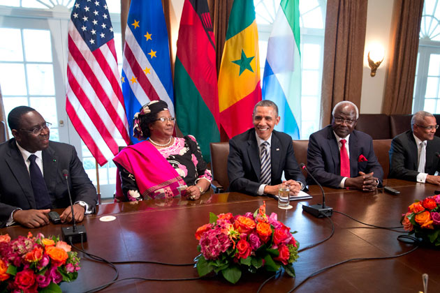 President Barack Obama (center) with (left to right) President Macky Sall (Senegal), President Joyce Banda (Malawi), President Ernest Bai Koroma (Sierra Leone), and Prime Minister José Maria Pereira Neves (Cape Verde) in the Cabinet Room of the White House on March 28, 2013. Credit: BusinessWeek.com/Getty Images