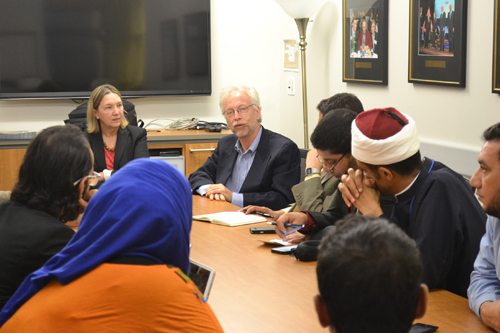 The author (far left) and Professor Nathan Brown (immediate right) discuss the importance of dialogue in public diplomacy with a delegation from the Middle East at the School of Media and Public Affairs, September 9, 2014.